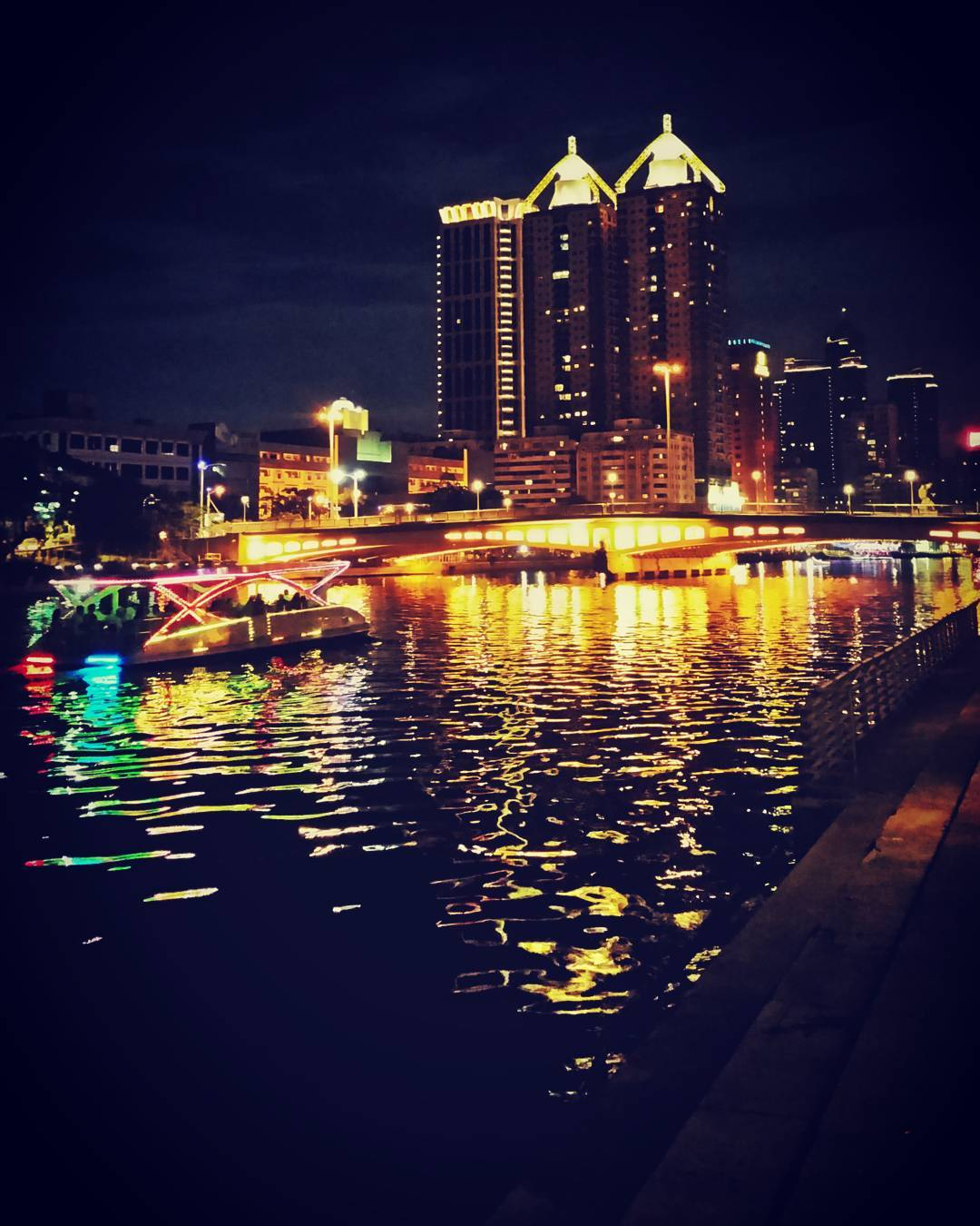 Love River at night, Kaohsiung, Taiwan