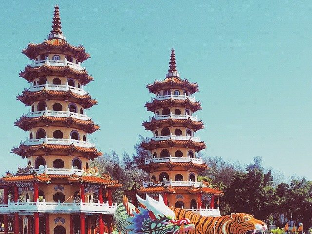 Tiger Dragon Pagoda on Lotus Lake, Kaohsiung Taiwan