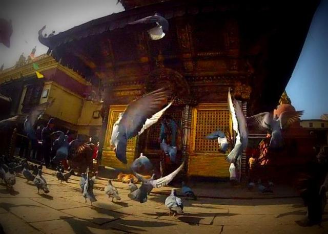 At the Swayambhu Stupa in Kathmandu, Nepal