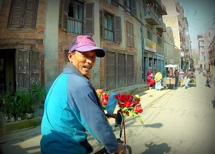 Our rickshaw driver through Kathmandu, Nepal