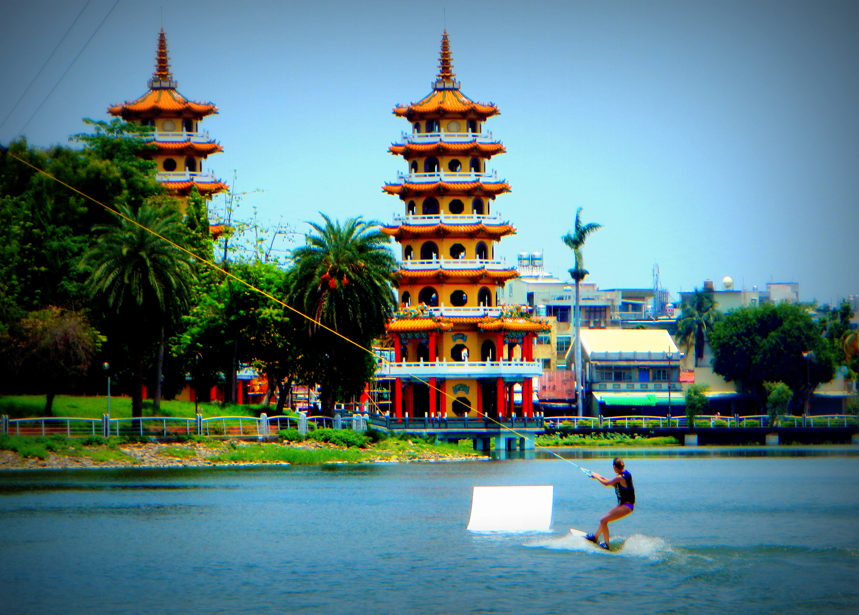 Wakeboarding Lotus Lake, Kaohsiung, Taiwan