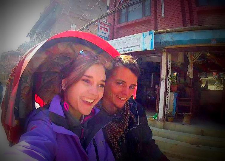 Rickshaw ride through Kathmandu, Nepal