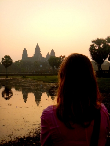Watching the sun rise over Angkor Wat, Cambodia