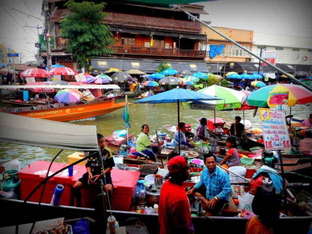 At Damnoen-Saduak Floating Market near Bangkok, Thailand