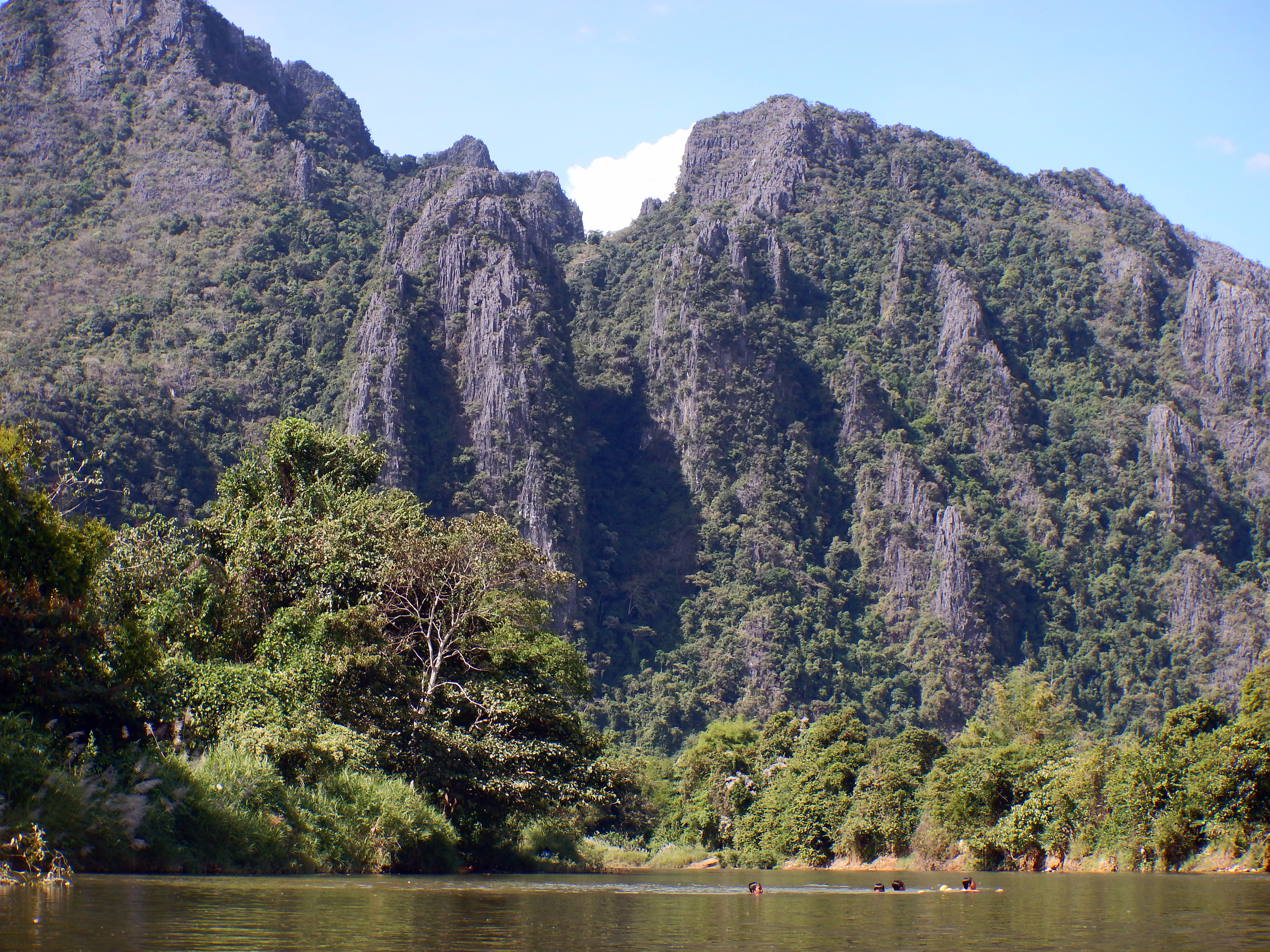 Floating the Nam Song River in Vang Vieng, Laos