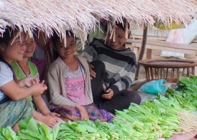 Girls selling vegetables, Luang Prabang, Laos