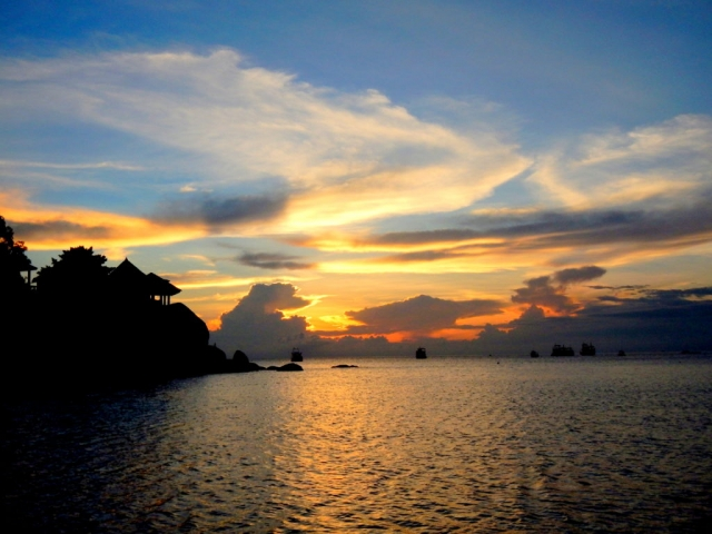 Sunset at Chalok Baan Kao Beach on Koh Tao, Thailand