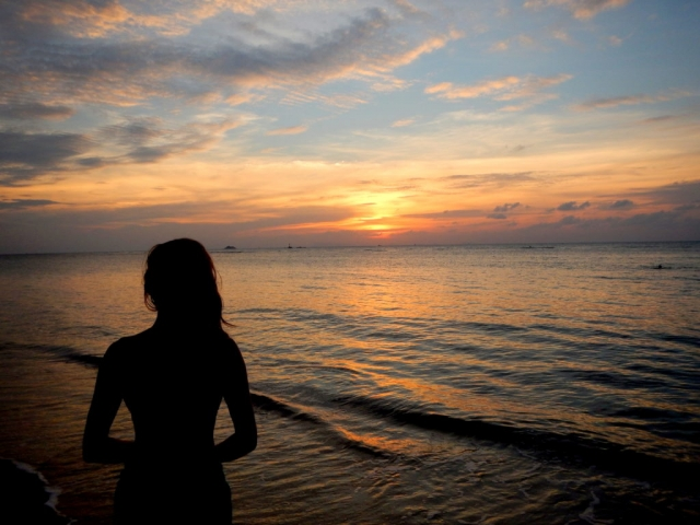 Sunset on Ao Chao Phao beach on Koh Phangan, Thailand