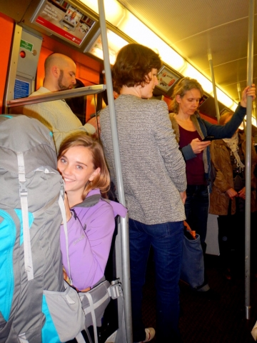 Rush hour on the subway, and we've got giant backpacks, Austria