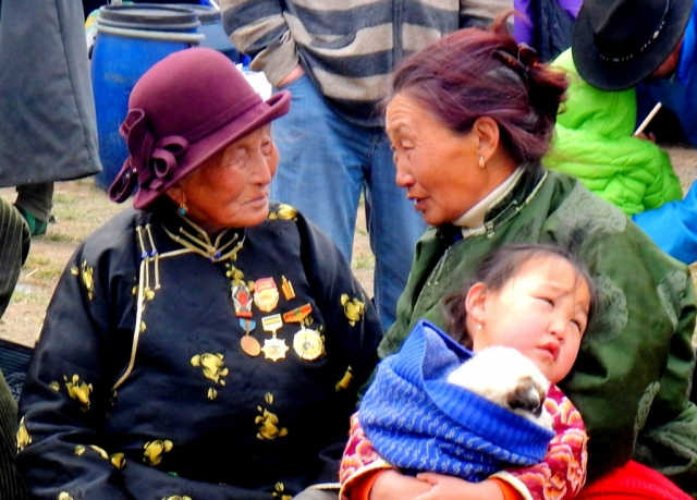 Mongolian women at the rodeo. Yoliin Am, Gobi, Mongolia.