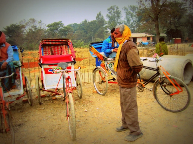 Local rickshaw drivers near Lumbini, Nepal