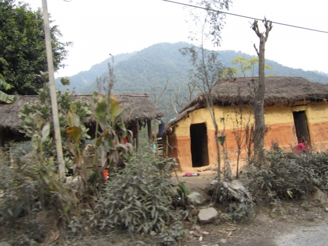 Homes alongside the road as we drove from Chitwan to Pokhara, Nepal