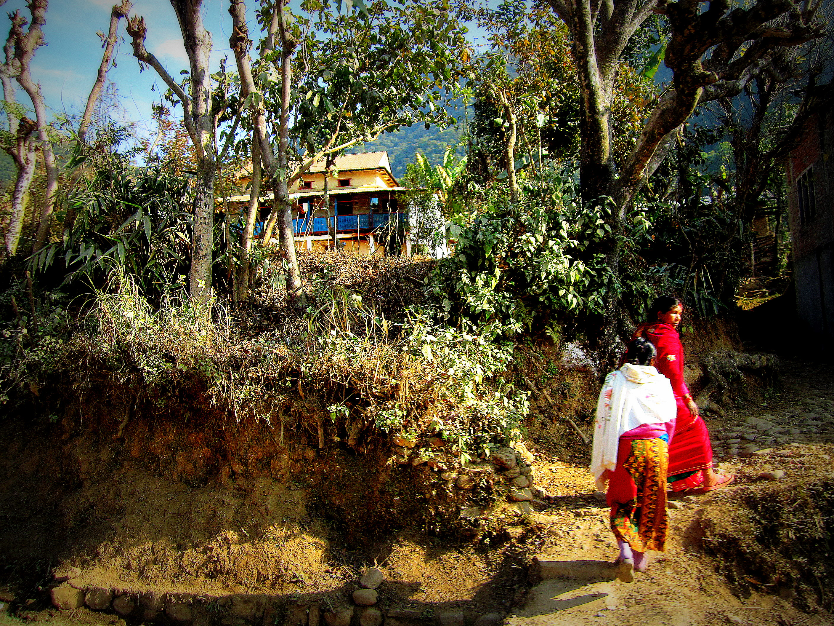 Local girls. Somewhere on the road between Chitwan and Pokhara. Nepal