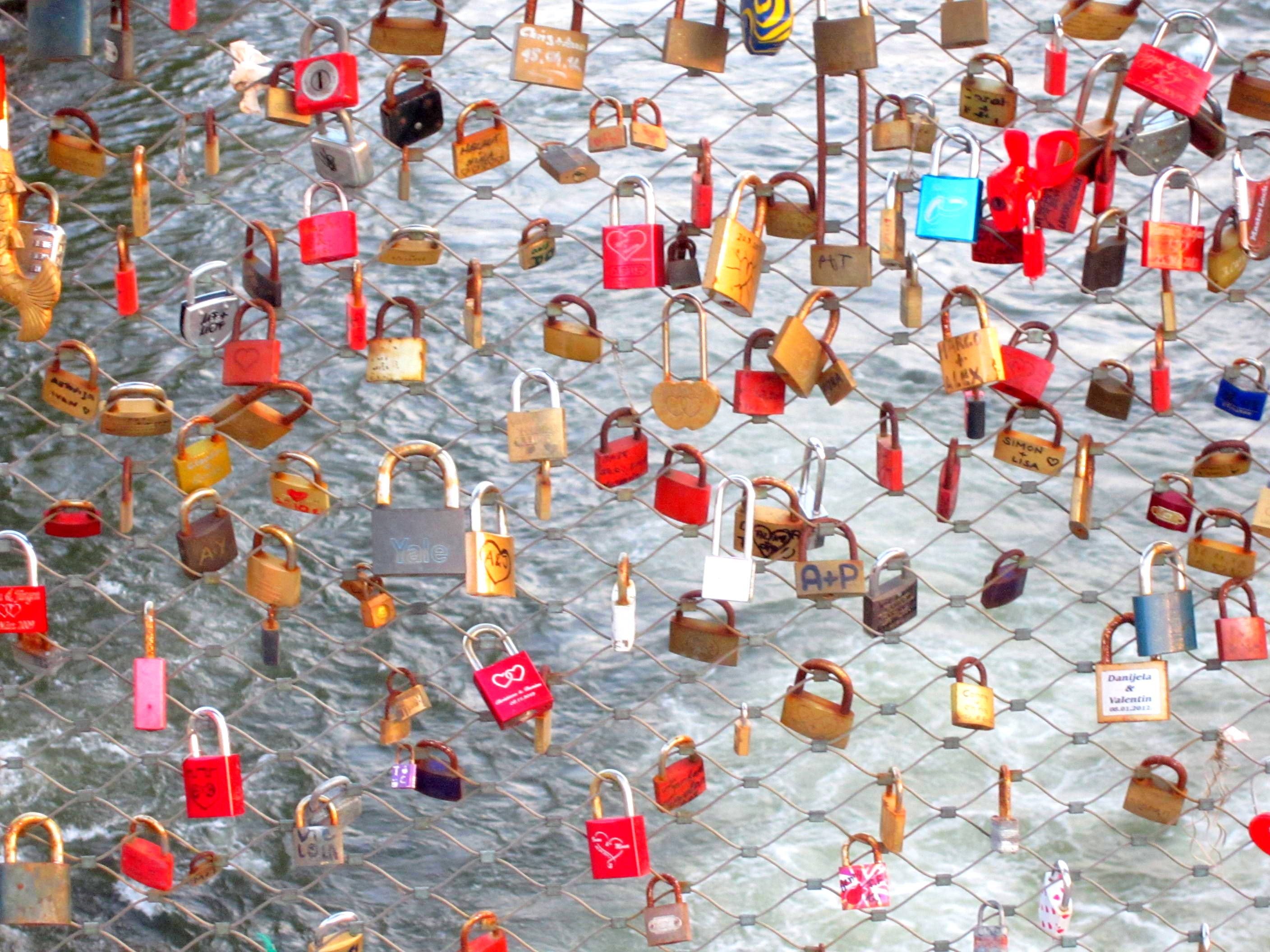 Locks on a bridge in Graz, Austria