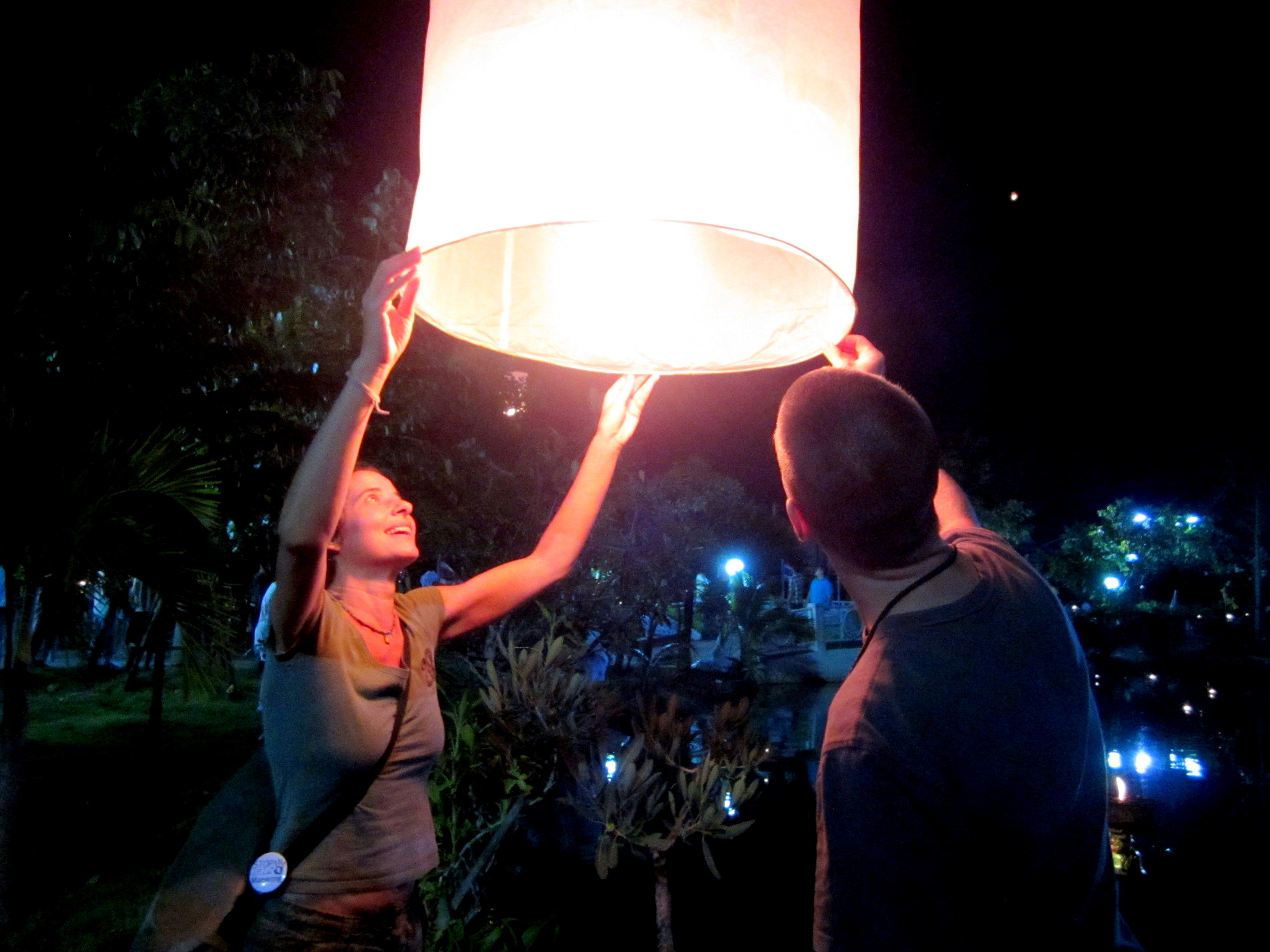 Floating lanterns for a Buddhist ceremony in Khon Kaen, Thailand