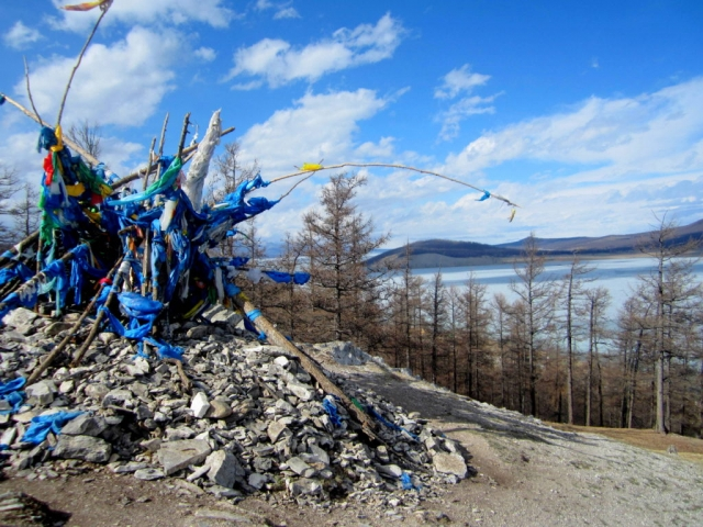 A traditional shrine, called an Ovoo. This one is at the top of a hill overlooking Khatgal and Lake Khövsgöl.