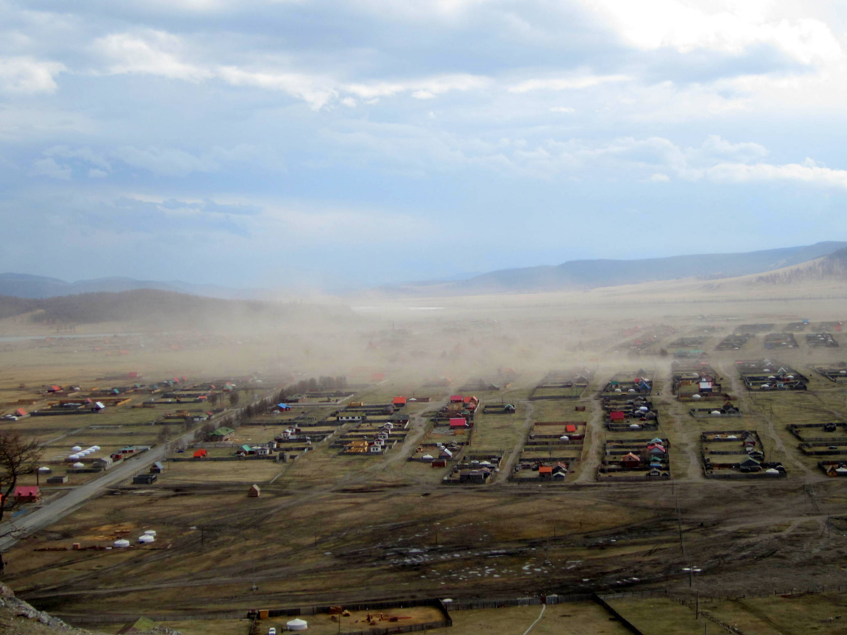 Moments after the last picture was taken, a dust storm rose up over Khatgal, Mongolia