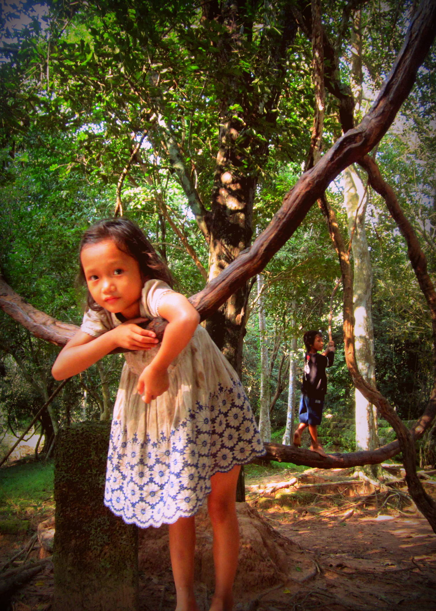 Little girl and her brother, swinging on vines near Ta Prohm, Cambodia