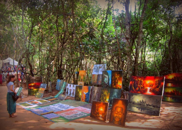 Many artists sell their paintings throughout the Angkor park, Cambodia