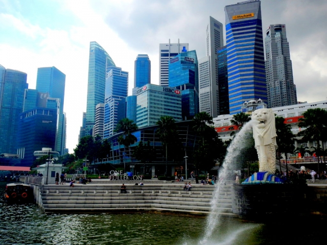 The Merlion in Marina Bay. Singapore