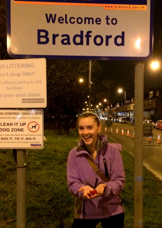 Tessa Rose Bradford holding ROSES in BRADFORD, England. OMG.